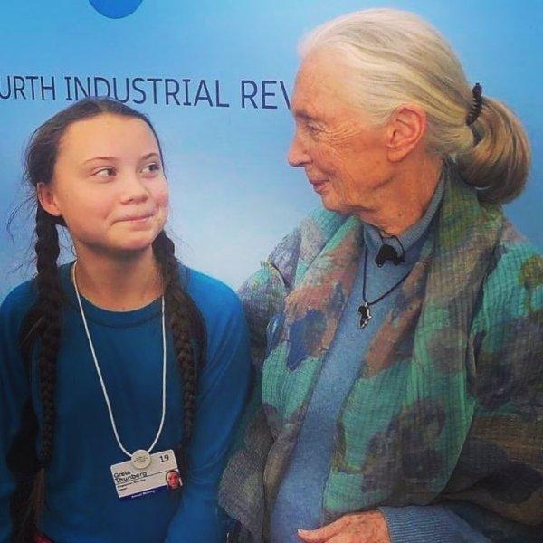 Greta Thunberg With Jane Goodall
