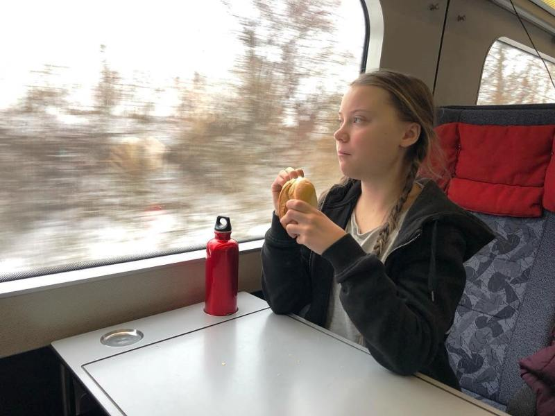 Greta Thunberg in a Train