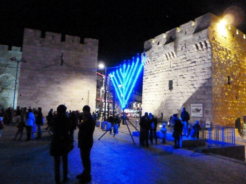 Old Jerusalem Jaffa Gate Lighted Up During Hanukkah Celebration