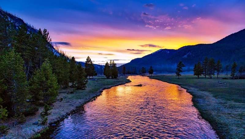 The Yellowstone National Park at Sunset